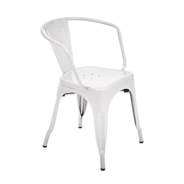 Tolix Metal Kollu Sandalye Beyaz