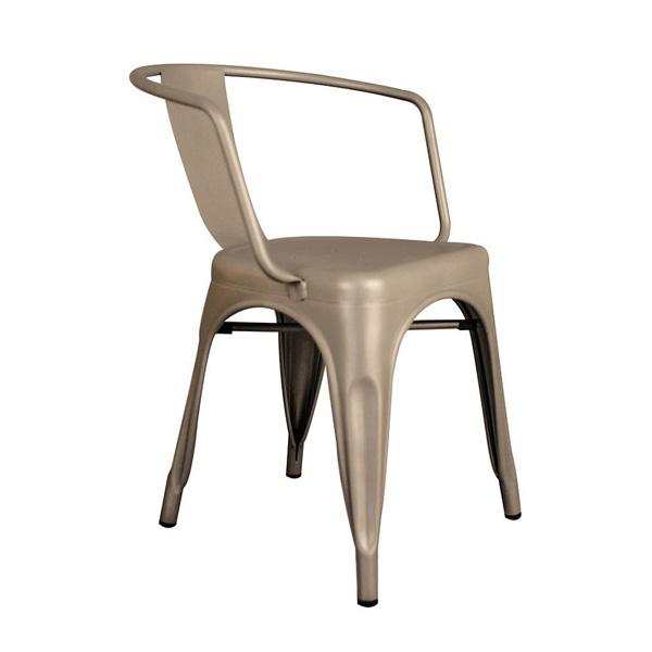 Tolix Metal Kollu Sandalye Gümüş