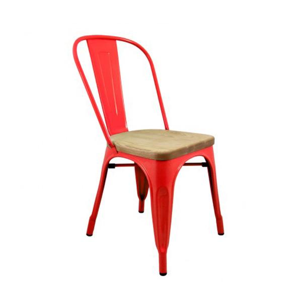 Tolix Ahşap Oturaklı Metal Sandalye