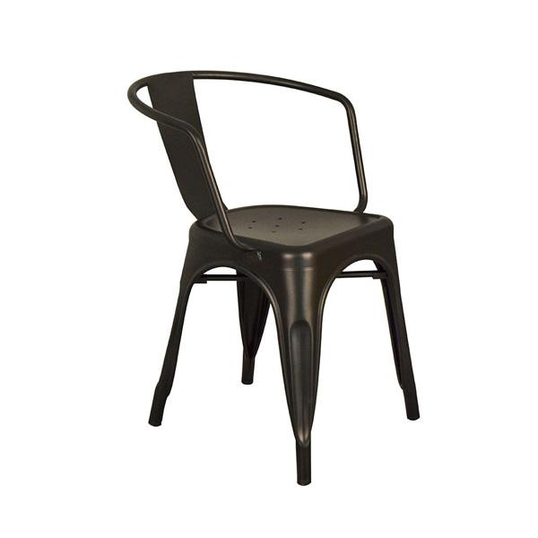 Tolix Metal Kollu Sandalye Siyah